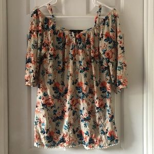 French Laundry Floral Cold Shoulder Blouse